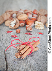Arrangement of various nuts and sticks Canela.