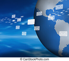 Email holograms moving past globe - Email holograms moving...