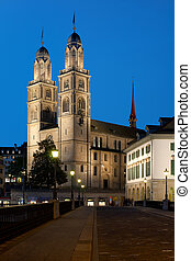 Grossmuenster in Zurich - Night view on Grossmuenster in...