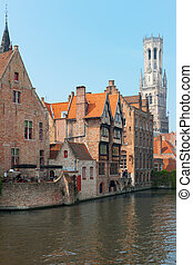 Vew on Belfort in Bruges - A view on Belfort over the Dijver...