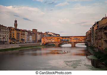 Ponte Vecchio and river Arno in Florence, Tuscany, Italy,...