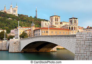 Lyon in september - Clasical view of Lyon over the Saone...