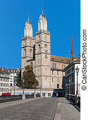 View on Grossmuenster in Zurich, Switzerland. GPS...