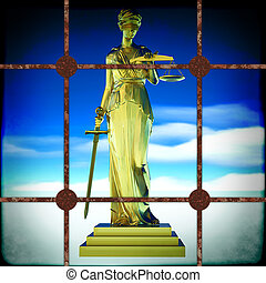 Themis behind bars - Themis  - law abstract composition