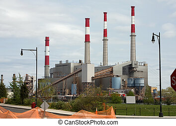 Power plant with 4 smoke stacks