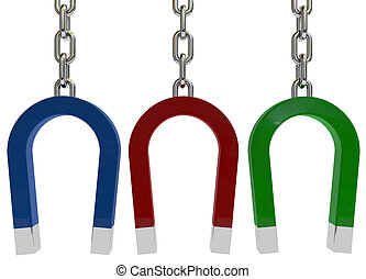 Different color horseshoe magnet on white background