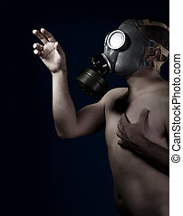 Scared, naked man with gas mask