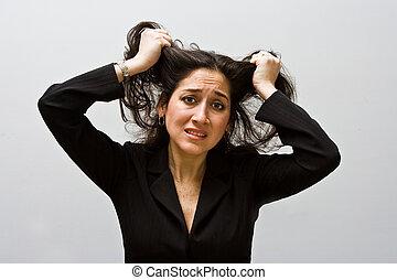 cansado, preocupado, negócio, mulher