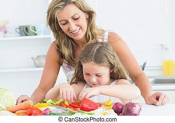 hija, aparejar, ella, vegetales, Cómo, madre, enseñanza