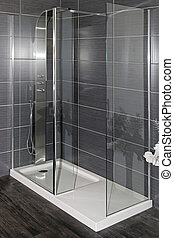 Shower - Modern bathroom interior with large shower and...