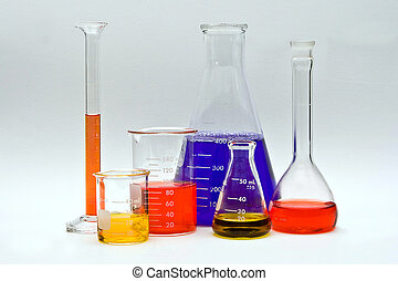 Colorful Chemistry - Flasks, cylinders and beakers with...