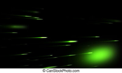 Green bright spots against a black background