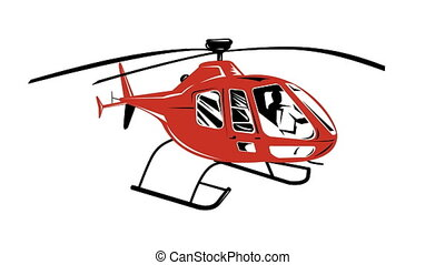 Helicopter Chopper Retro - 2d illustration of a helicopter...