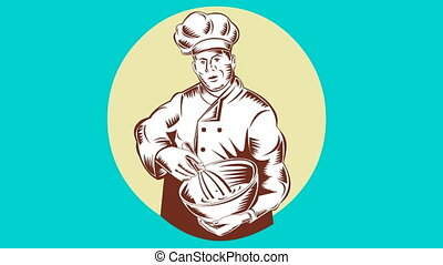 Baker Chef Cook Mixing Bowl Retro - 2d animation of a baker...