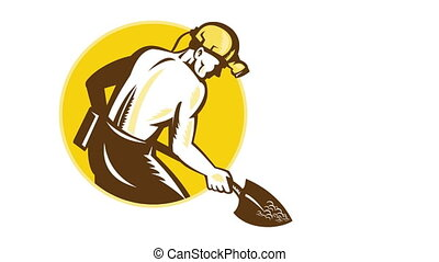 Coal Miner With Spade Shovel Retro - 2d animation of a coal...