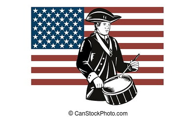 American Patriot Drummer Stars and - 2d animation of a...