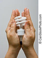 Presenting Power-saver - Two female hands presenting an...