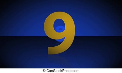Countdown from 10 to 1 - Gold numbers over a deep blue 3D...