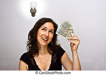 Money saver - Woman with a money saving idea