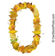 Number zero made of autumn leaves. White isolated