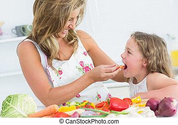 mãe, alimentação, dela, filha