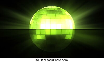 Green disco ball against a black background
