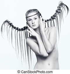 Portrait of young woman with braid hairdo - Portrait of...