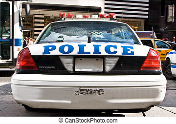 Police car - The rear of a parked New York City Police car
