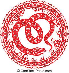 Snake year 2013. Chinese zodiac symbol.