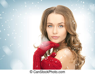 beautiful woman in red mittens - picture of beautiful woman...