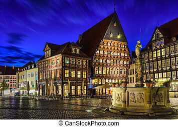 Historical market square in Hildesheim, Germany during the...