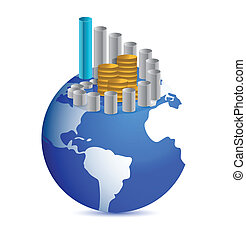 business graph with coins over world globe illustration