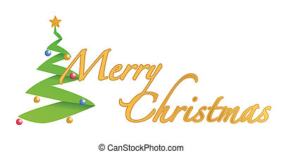 Merry christmas tree text sign