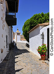 a view of a charming street in Betancuria in Fuerteventura, Canary Islands, Spain