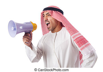 árabe, homem, shouting, através, alto-falante