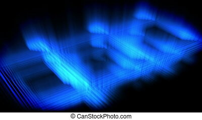 Blue glow forming a square against a black background