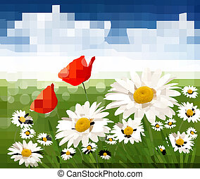 Nature background with beautiful flowers and blue sky....
