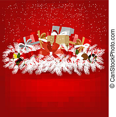 Christmas background with presents and a red ribbon. Vector illustration.