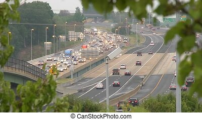heavy traffic framed - Heavy I95 traffic out of Washington,...