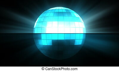 Blue disco ball against a black background