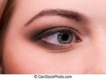 beautiful young woman s eye - Portrait of beautiful young...