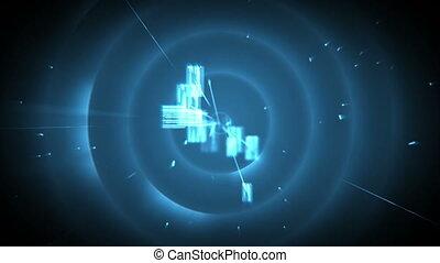 Blue images floating against a black background