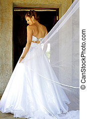 Behind Vail - Bride standing in her wedding dress