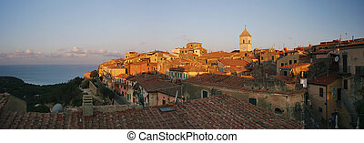Capoliveri panorama of old city, Elba, Tuscany, Italy
