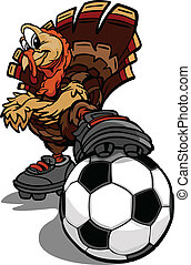 Soccer Thanksgiving Holiday Turkey Cartoon Vector...