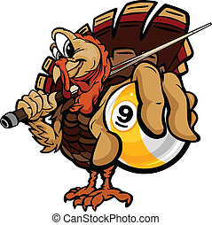 Cartoon Vector Image of a Thanksgiving Holiday Billiards or Pool Turkey Holding a Nine Ball and Pool Cue