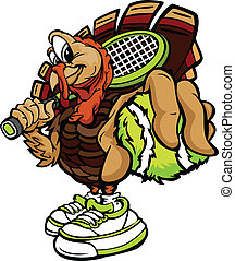 Tennis Thanksgiving Holiday Turkey Cartoon Vector Illustration