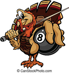 Cartoon Vector Image of a Thanksgiving Holiday Billiards or...