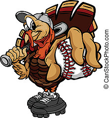 Cartoon Vector Image of a Thanksgiving Holiday Baseball or Softball Turkey Holding a Baseball Ball and a Bat