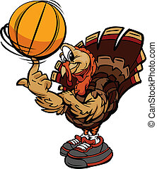 Cartoon Vector Image of a Thanksgiving Holiday Soccer Turkey...
